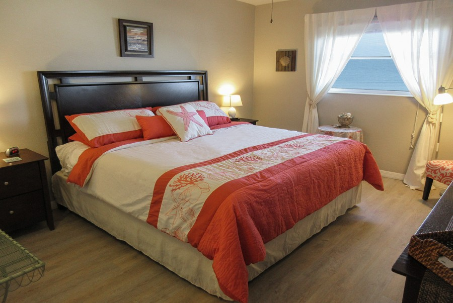Large Bedroom with King Sized Bed and View of the Gulf from Your Window
