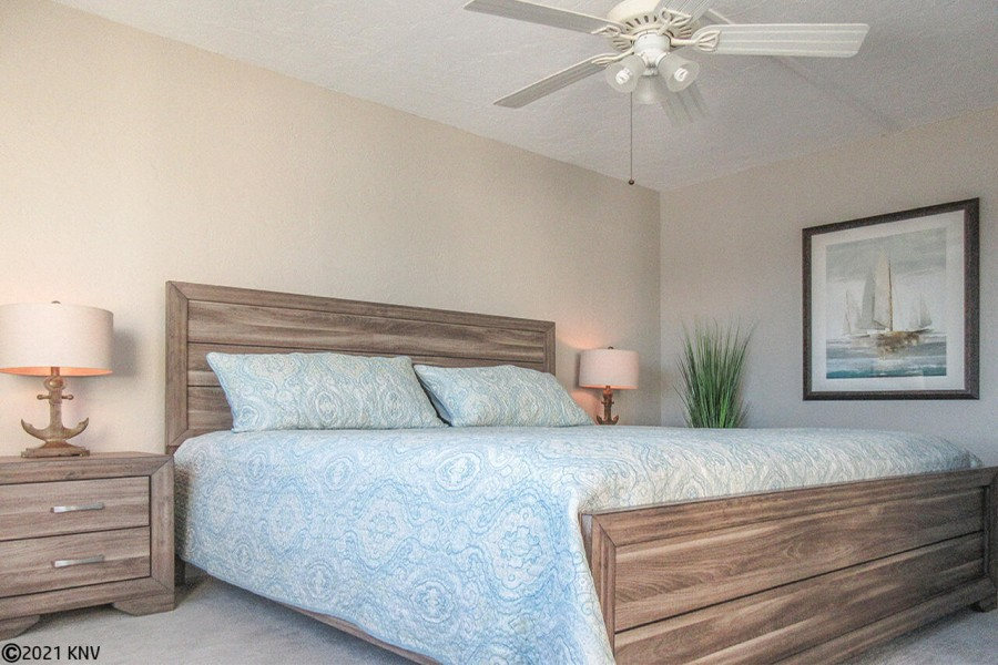 King Sized Bed and brand new furnishings in Master Bedroom