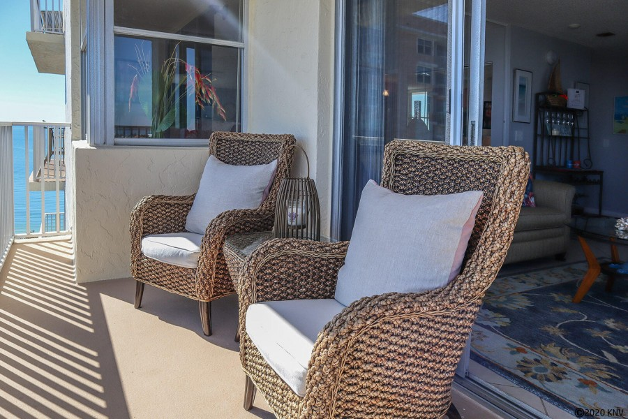 Brand new patio furniture on the balcony