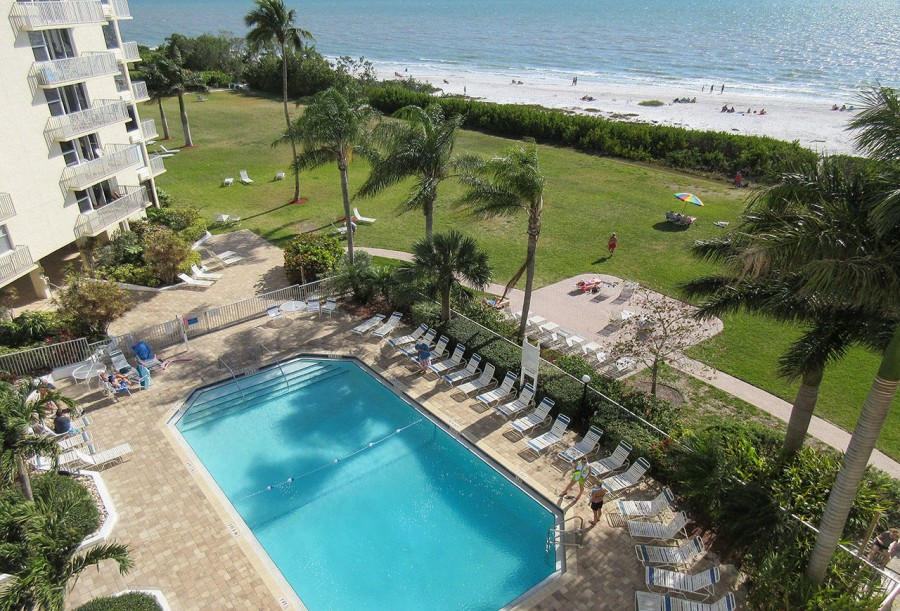 Pool is located beachside at Estero Beach and Tennis Club