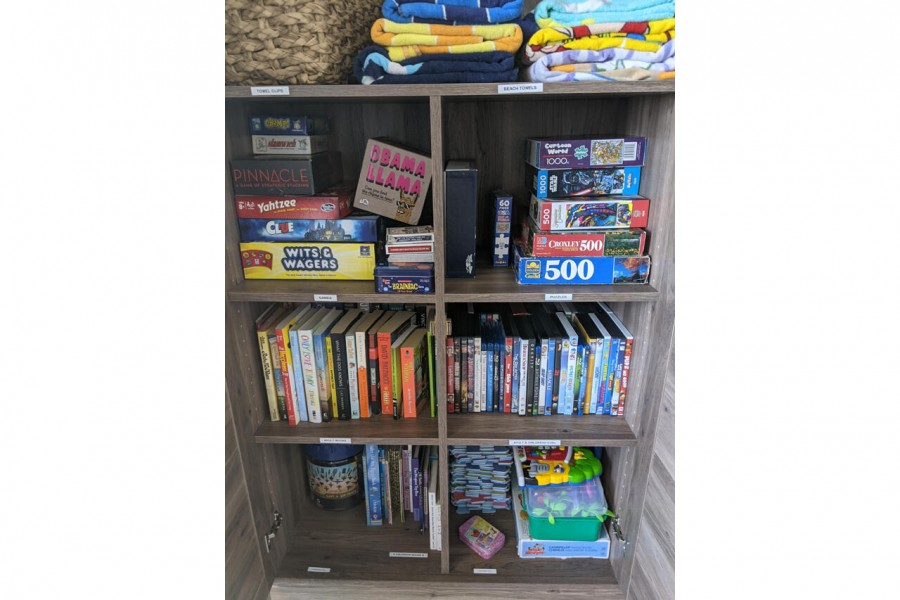 Condo is stocked with games, puzzles and toys for all ages.