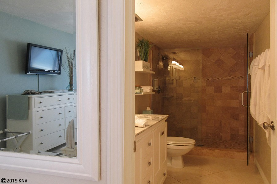 Beautifully detailed Master Bath welcomes you with a large Walk In Shower.