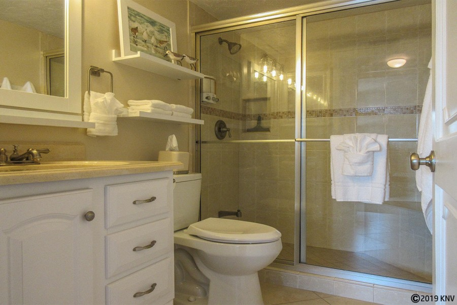 Guest Bath is right next door to the Guest Bedroom. Walk In Shower.