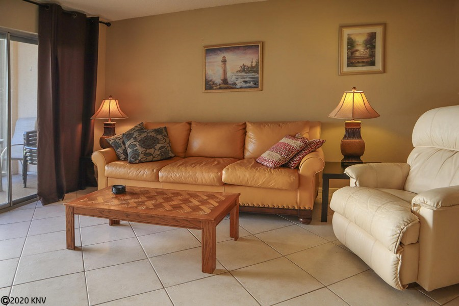 Comfy seating and a large screen TV welcome you