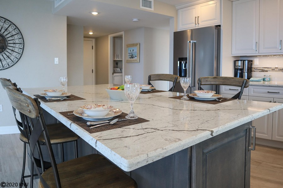 High end features throughout this beautiful kitchen and dining area.