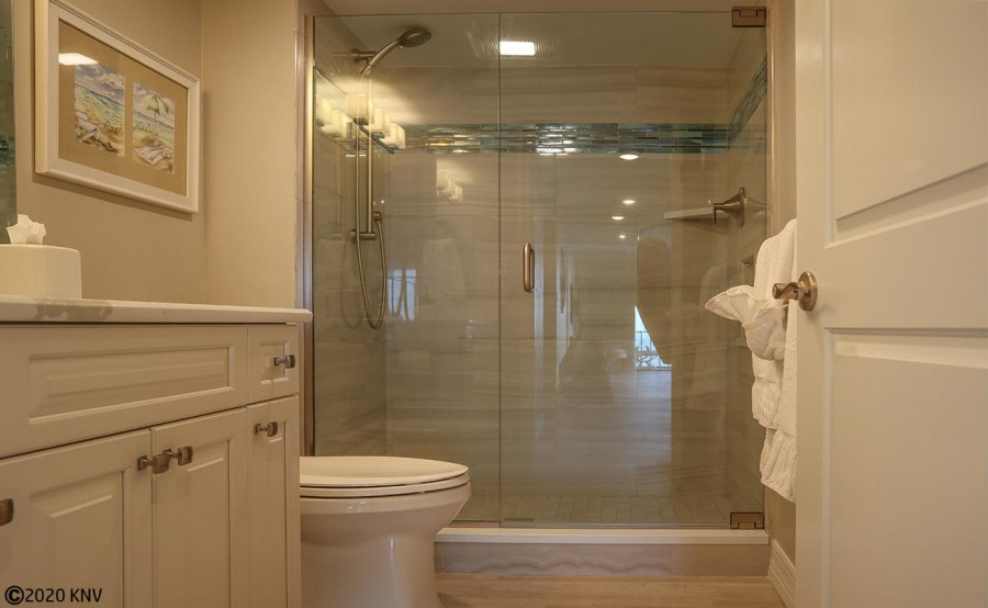Newly Remodeled Guest Bath with a Walk In Shower