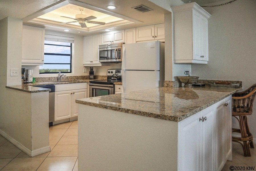 Newly remodeled kitchen is fully equipped for your stay.