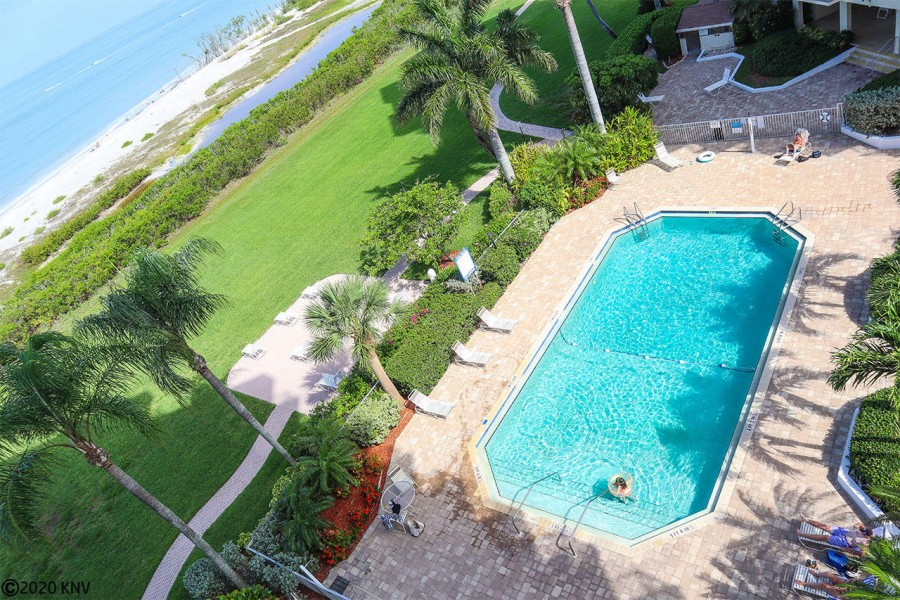 The view from your balcony overlooks the pool and beachfront.