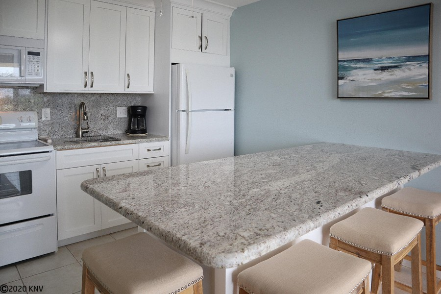 Sparkling granite countertops and new appliances