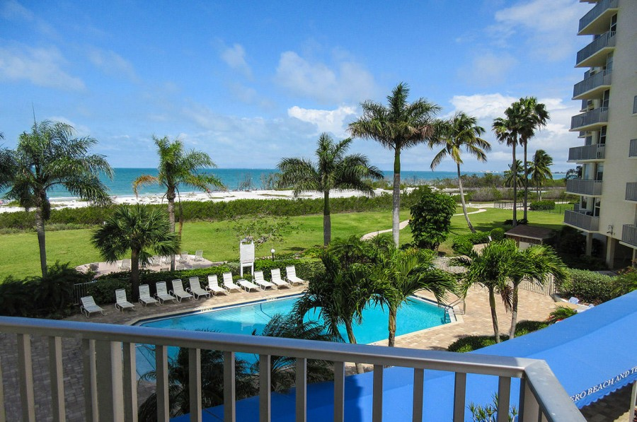 Balcony View Overlooking the Pool and Gulf
