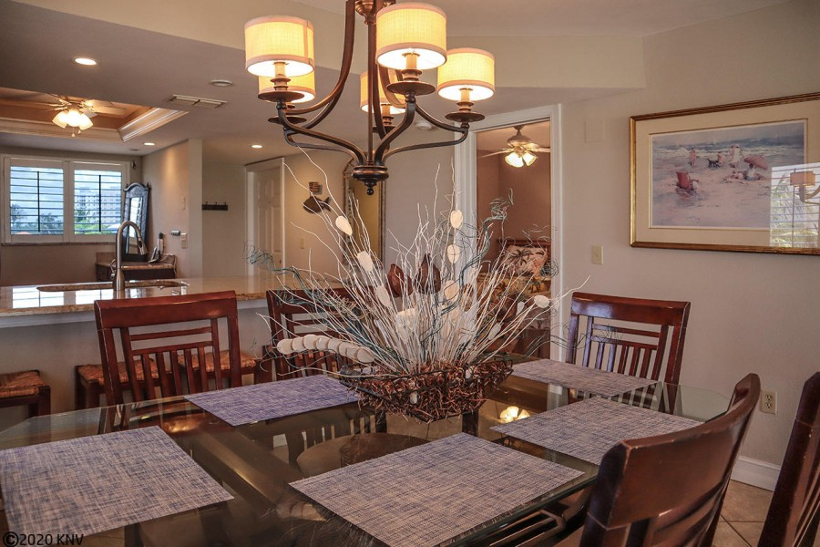 Gather in the lovely dining area.