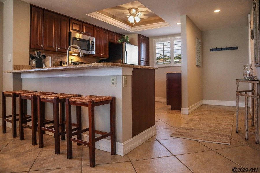 Gorgeous remodeled kitchen with breakfast bar.
