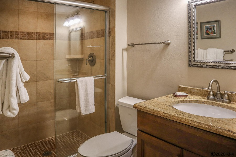 Guest Bath features a walk in shower