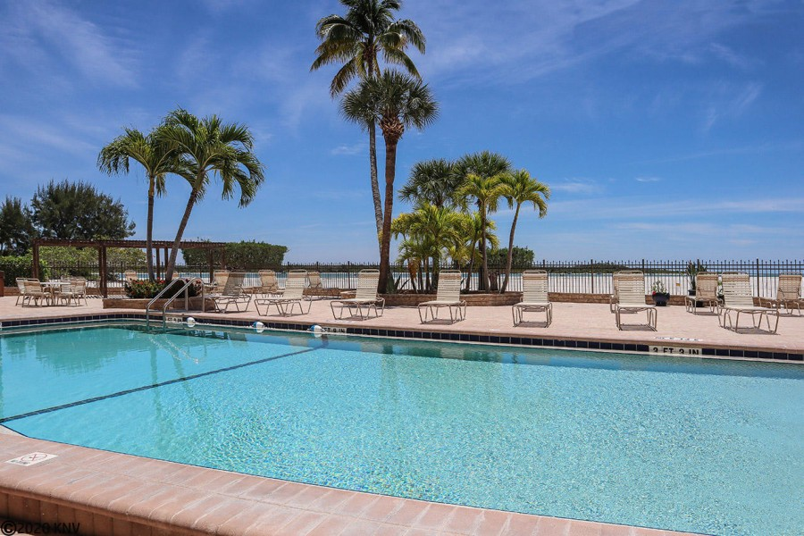 Heated Resort-sized pool sits beachside