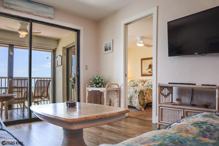 Comfy furnishings, large screen TV and a beautiful view from nearly every room
