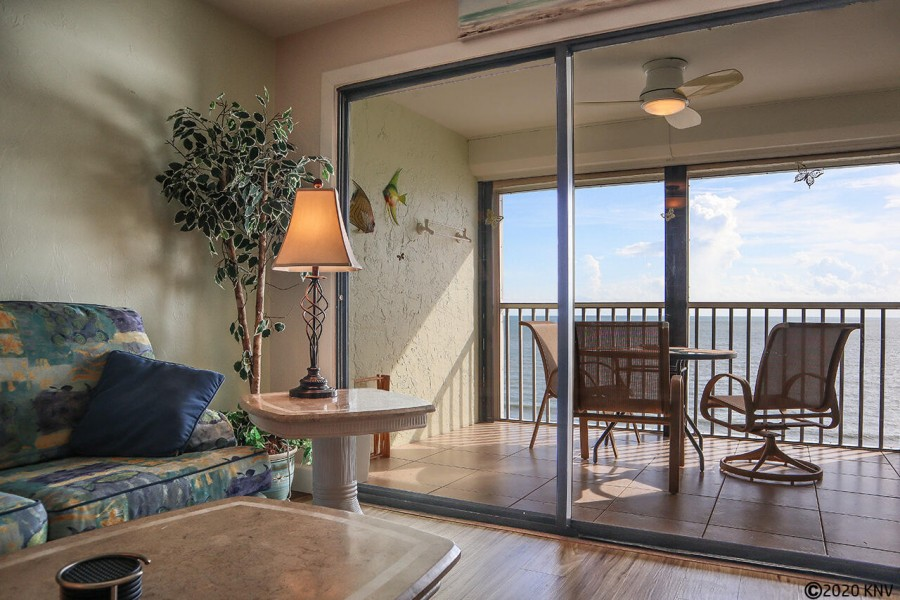 Gorgeous direct Gulf view from your screened in lanai