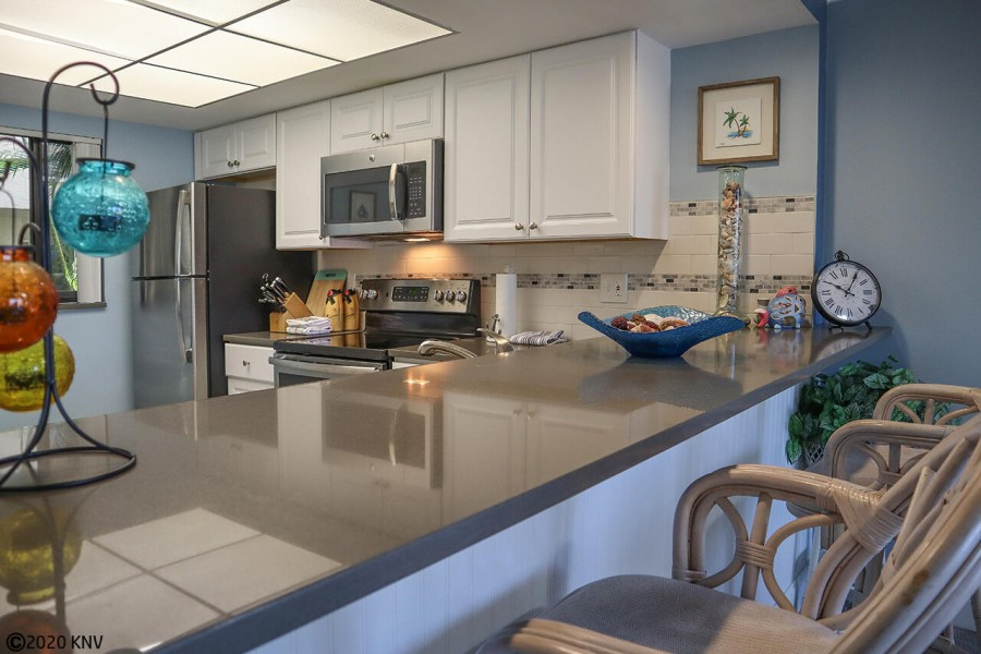 Your fabulous kitchen features a breakfast bar.