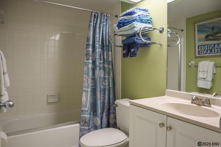 Master Bath has fresh towels and linens