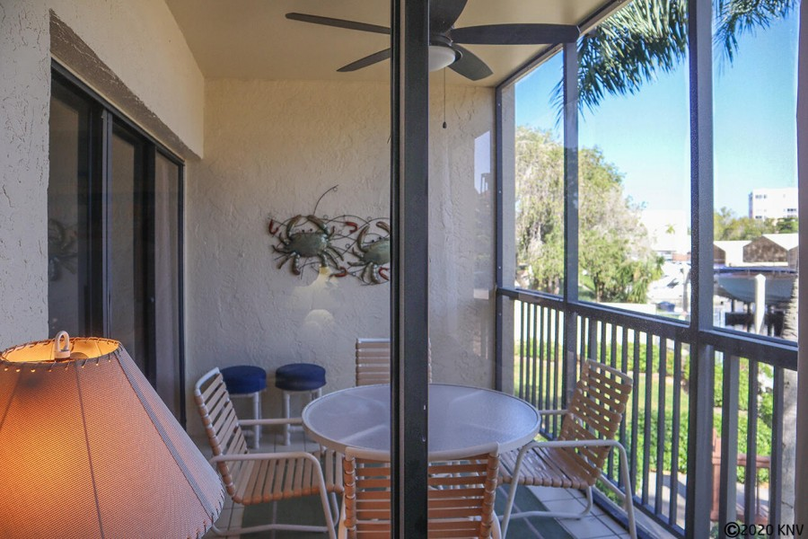 Your wonderfully private outdoor space - screened in lanai with dining spot will be your favorite.
