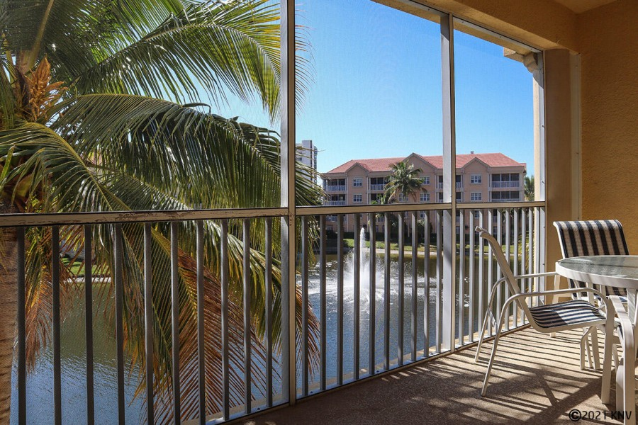 Large Screened In Lanai runs the width of the your vacation condo