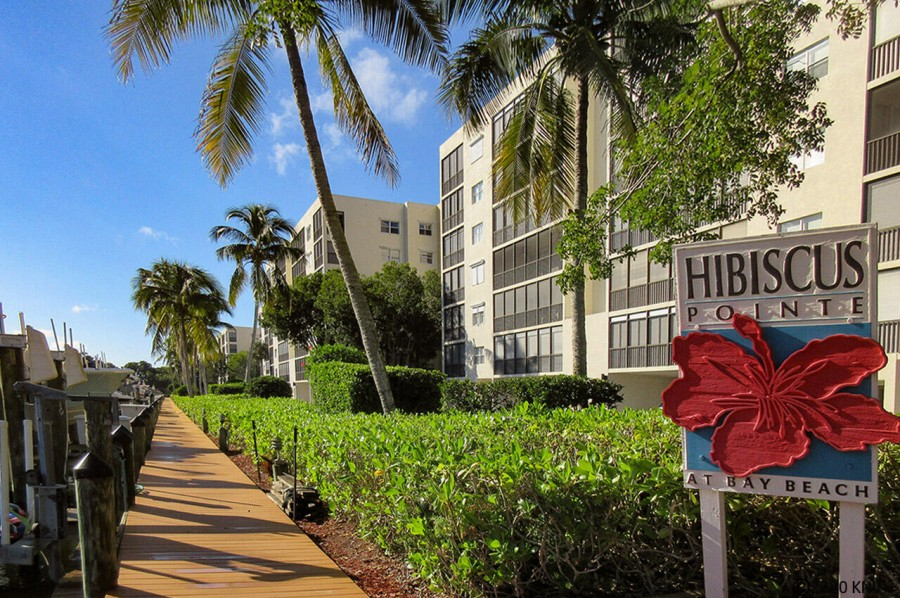 Hibiscus Pointe Complex is surrounded by wide canals leading to the Bay