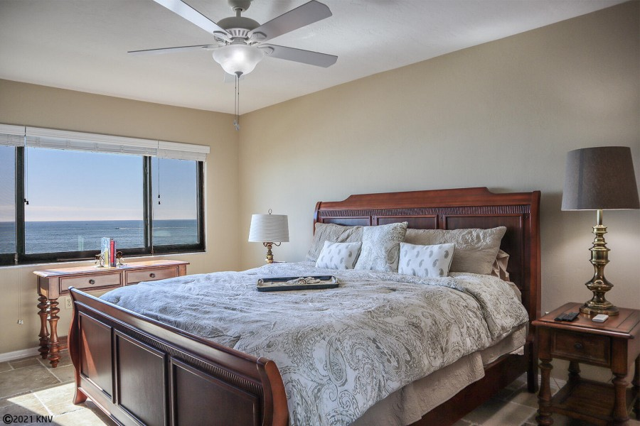 Spacious Master Bedroom has a King Sized Bed and magnificent view of the Gulf