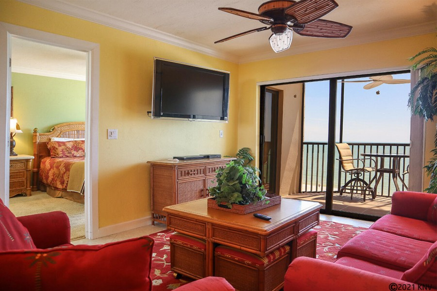 Comfortable seating for the whole family at this beachfront vacation condo