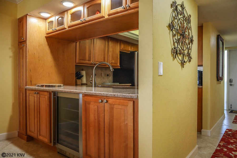 Wine fridge is a special feature in the newly remodeled kitchen
