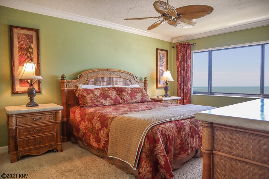 Master Bedroom is beautifully decorated with a wonderful view of the Gulf