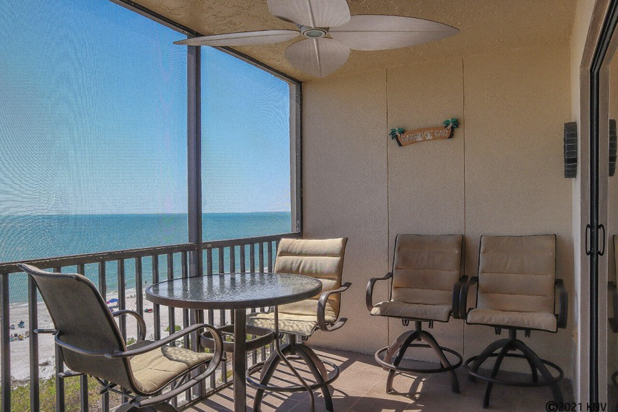 Screened in lanai with gorgeous direct Gulf view