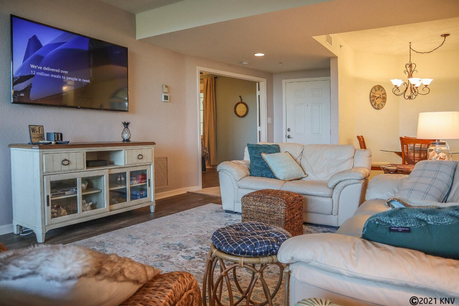 Large Screen TV and comfortable seating for the whole family.