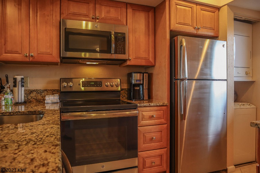 New Appliances, including a stackable washer and dryer