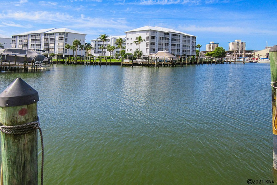 Condo sits on the wide canals that lead to the Bay