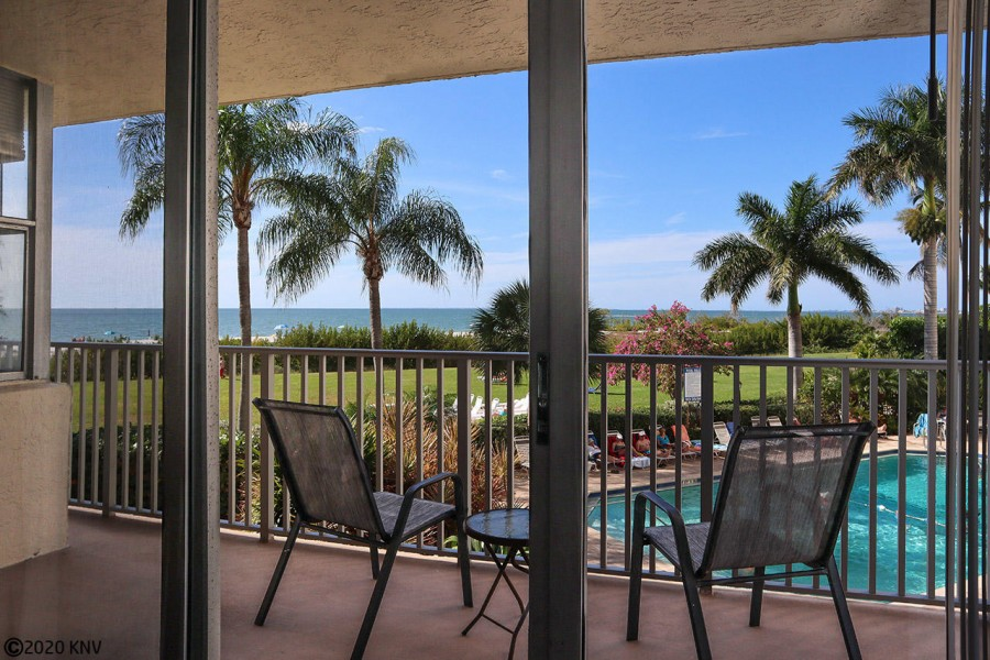 Beautiful Gulf front view from Estero Beach and Tennis Club 105B from