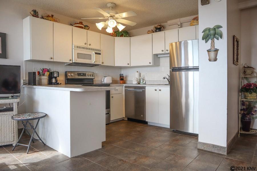 Remodeled kitchen includes a dishwasher