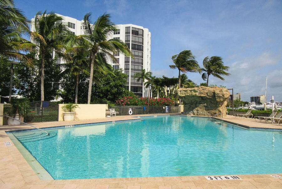 Waterside Pool and Sundeck sits on the Bay
