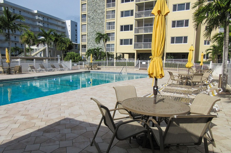 Sand Caper Resort Pool with Picnic Tables